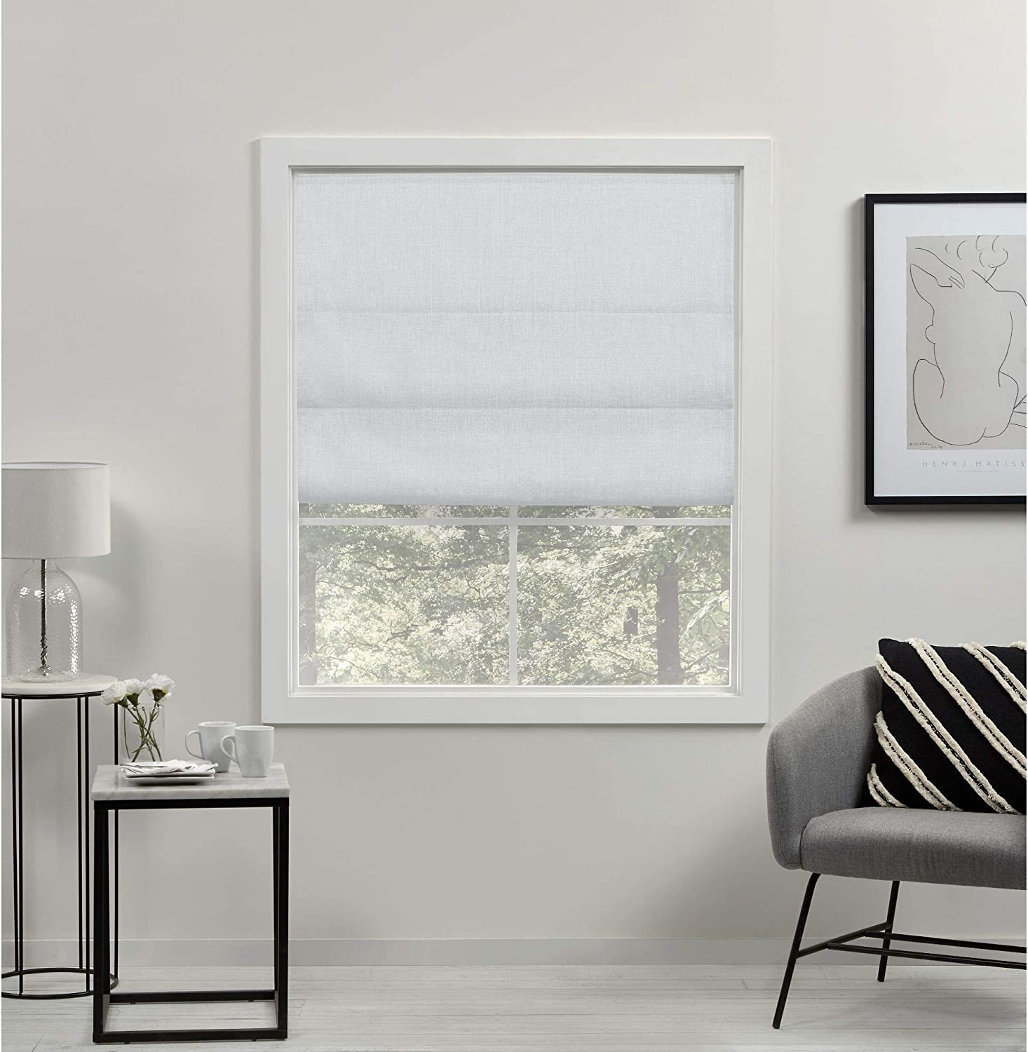 Exclusive Home Curtains Acadia Total Blackout Roman Shade, 23x64, White