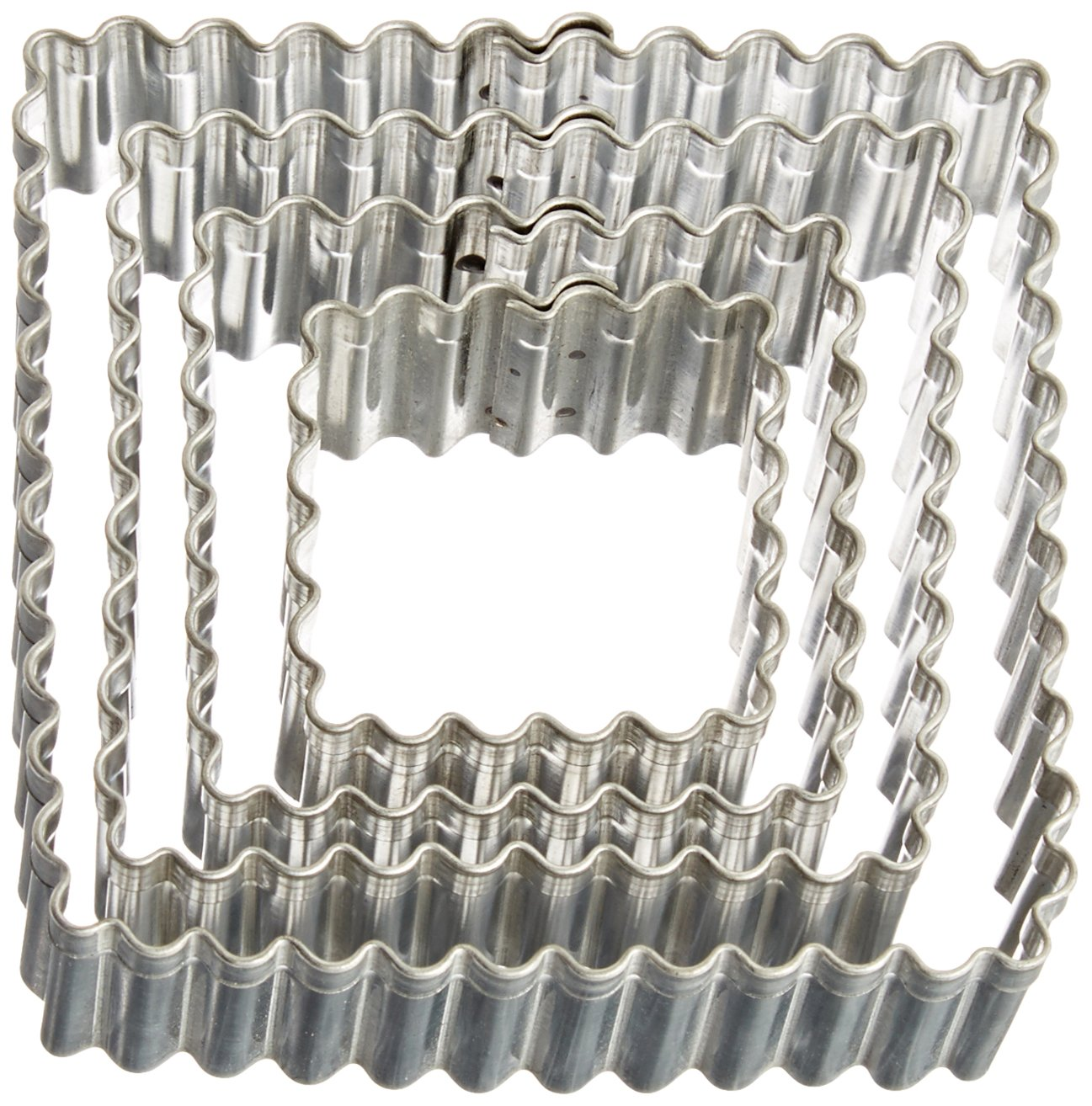 R/&M International 1879 Fluted Square Cookie and Biscuit Cutters Set of 4 Assorted Sizes Tinplated Steel