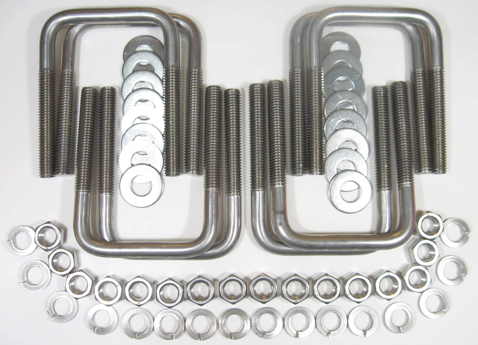 (8) 304 Stainless Steel Square U-Bolt Boat Trailer U bolt Ubolt 1/2'' D x 3 1/16'' W x 4 5/16'' L