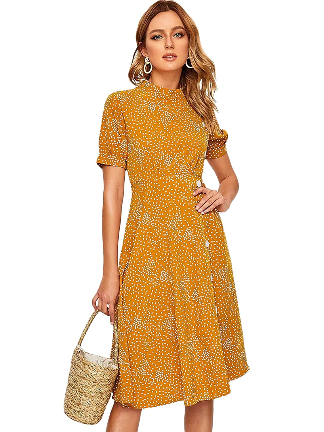 1940s Dresses | 40s Dress, Swing Dress SheIn Womens Casual Short Sleeve Polka Dot Button A Line Flare Midi Swing Dress $23.99 AT vintagedancer.com