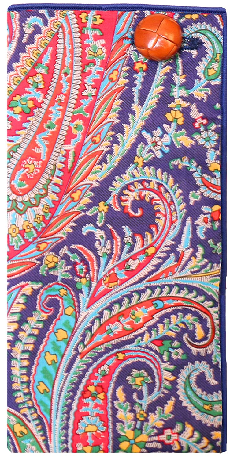 Blue Paisley Print w// Leather Button Mens Pocket Square by The Detailed Male