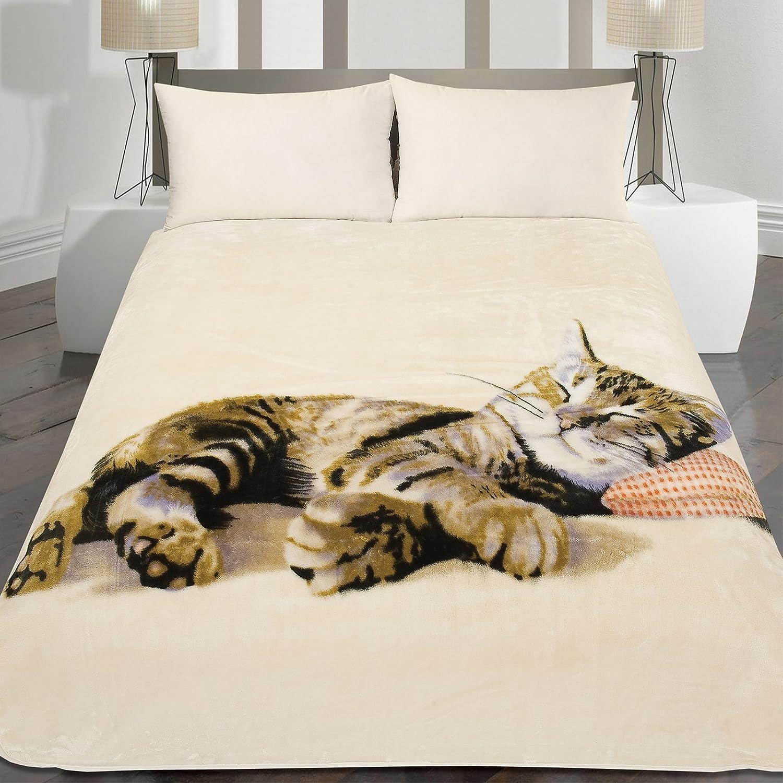 Dreamscene Large Animal Faux Fur Mink Warm Bed Blanket Throw Sleeping Kitten Cat 150 x 200, Cream - Brown 150 X 200cm MTHCAT99