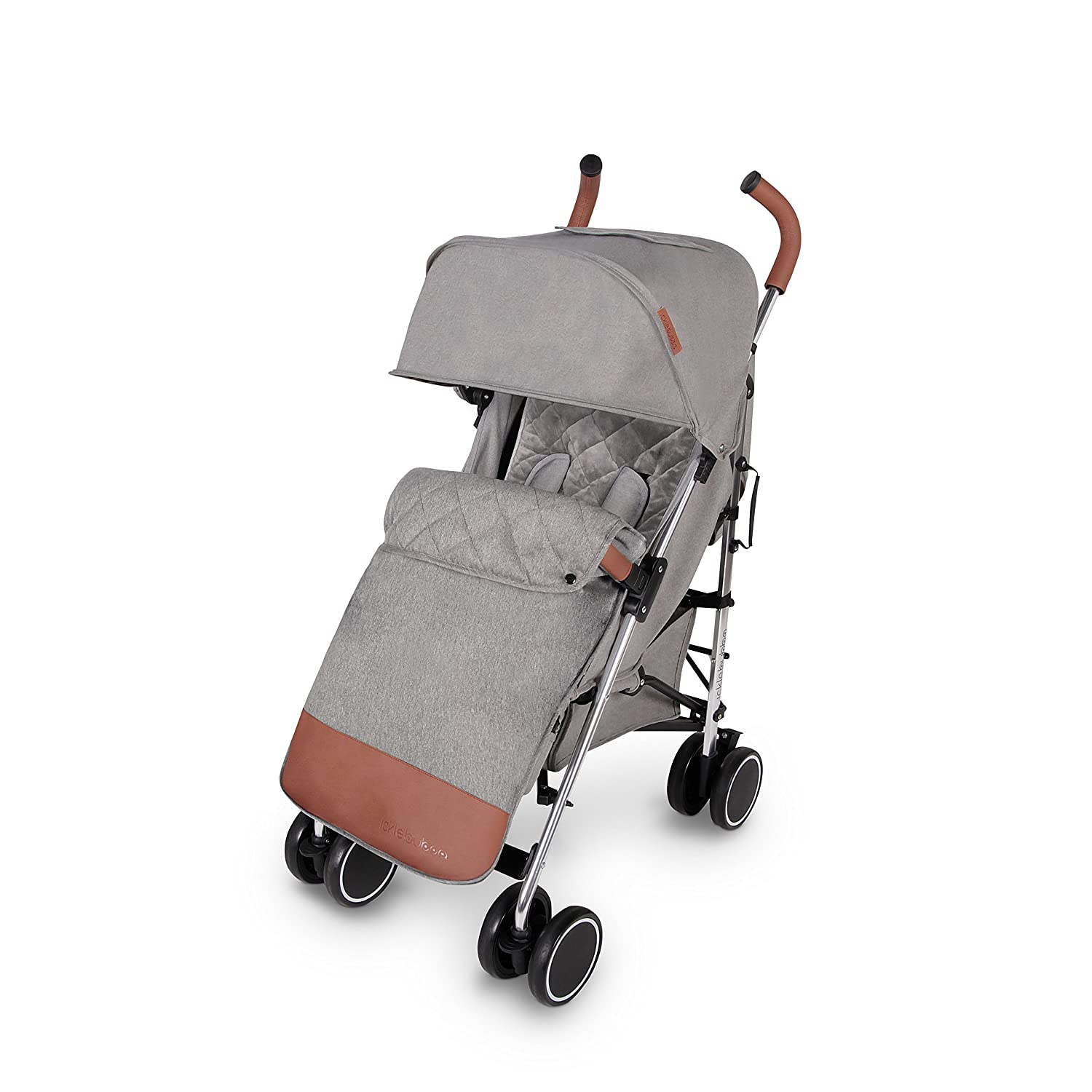 Ickle Bubba Discovery Compact and Lightweight Stroller with Rose Gold Frame, Black