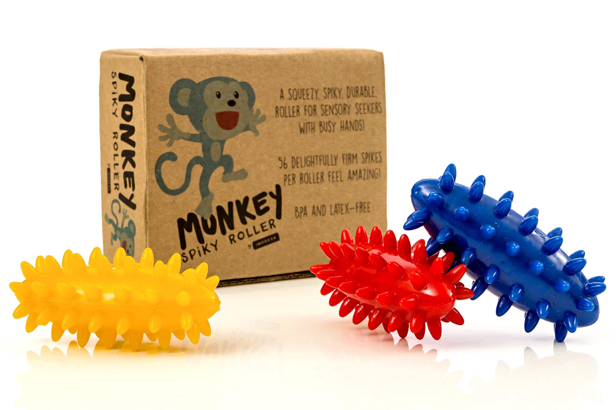 Spiky Sensory Rollers (Pack of 3) - Unbreakable Fidget Toys/Sensory Toy - BPA/Phthalate/Latex-Free - Perfect Monkey Fidgets - by Impresa by Impresa Products