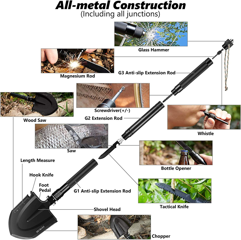Feyrinx Camping Shovel Multitool Folding Survival Shovel High Carbon Portable Entrenching Tool for Hiking, Fishing, Gardening : Sports & Outdoors