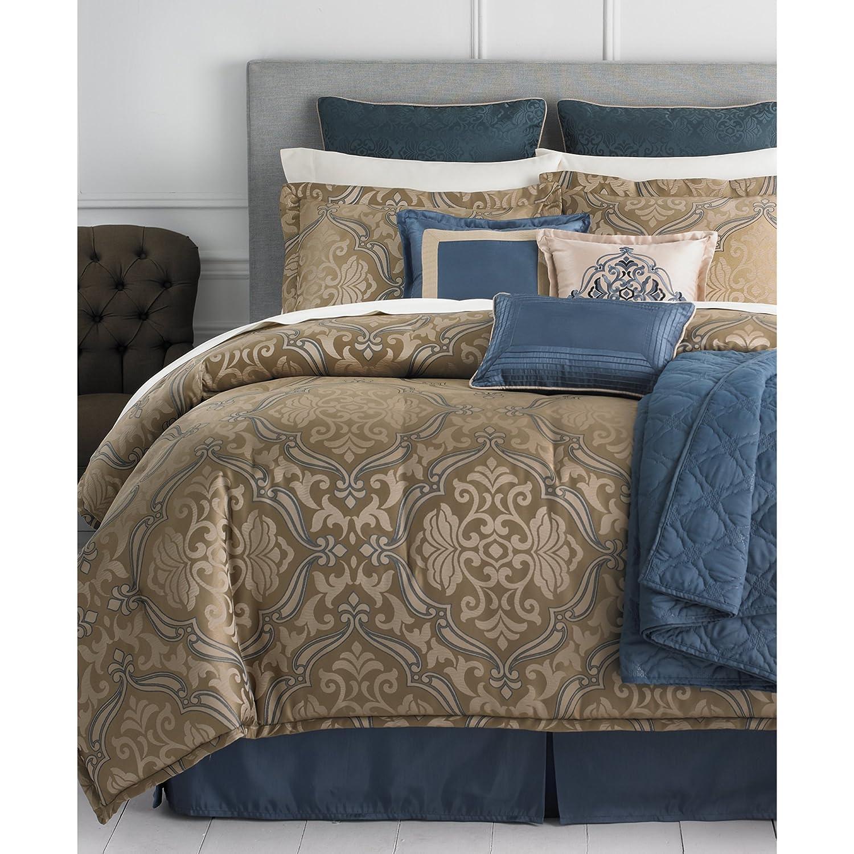 Amazon.com: Martha Stewart Hampton 22 Piece Queen Bed In Bag Set  Brown/Blue: Home U0026 Kitchen