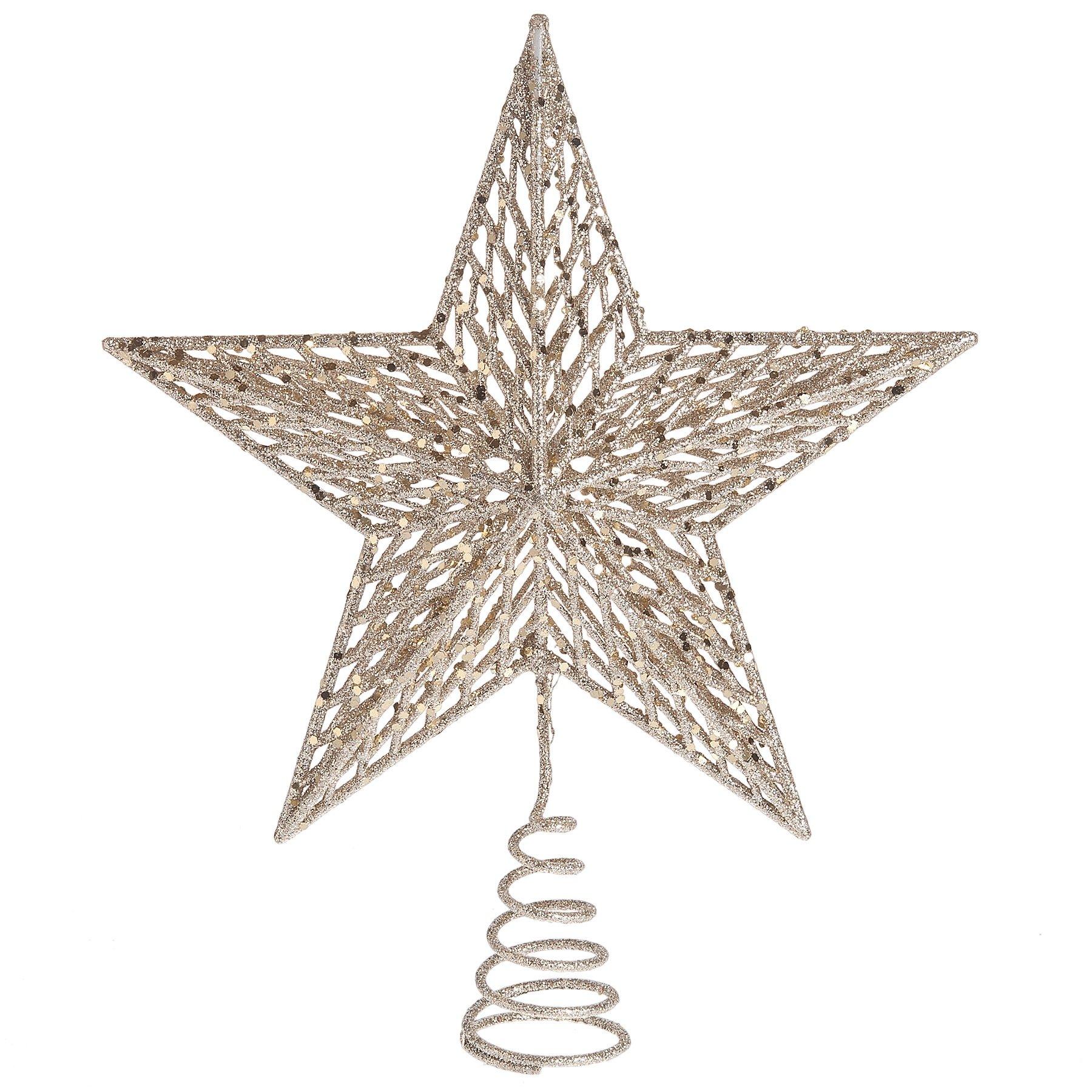 Goldtone Glitter 12 x 11 Inch Metal Spring Base Star Christmas Tree Topper