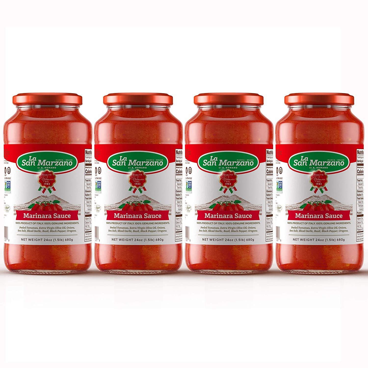Marinara Pasta Sauce 100% Product of Italy 24 Ounce Jars - 100% Genuine Ingredients With San Marzano Tomatoes (Pack of 4)