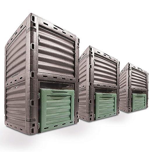 Gr8 Garden - Contenedor de Basura para Reciclaje y Reciclaje (300 L), Color Verde Oscuro y Gris