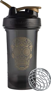 BlenderBottle Sugar Skull Pro Series 24-Ounce Shaker Bottle, Black/Gold