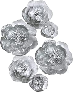Letjolt Artificial Paper Flower Decorations for Wall Wedding Thanksgiving Day Backdrop Birthday Party Baby Shower Bridal Shower Nursery Wall Decor(Silver Set 6)
