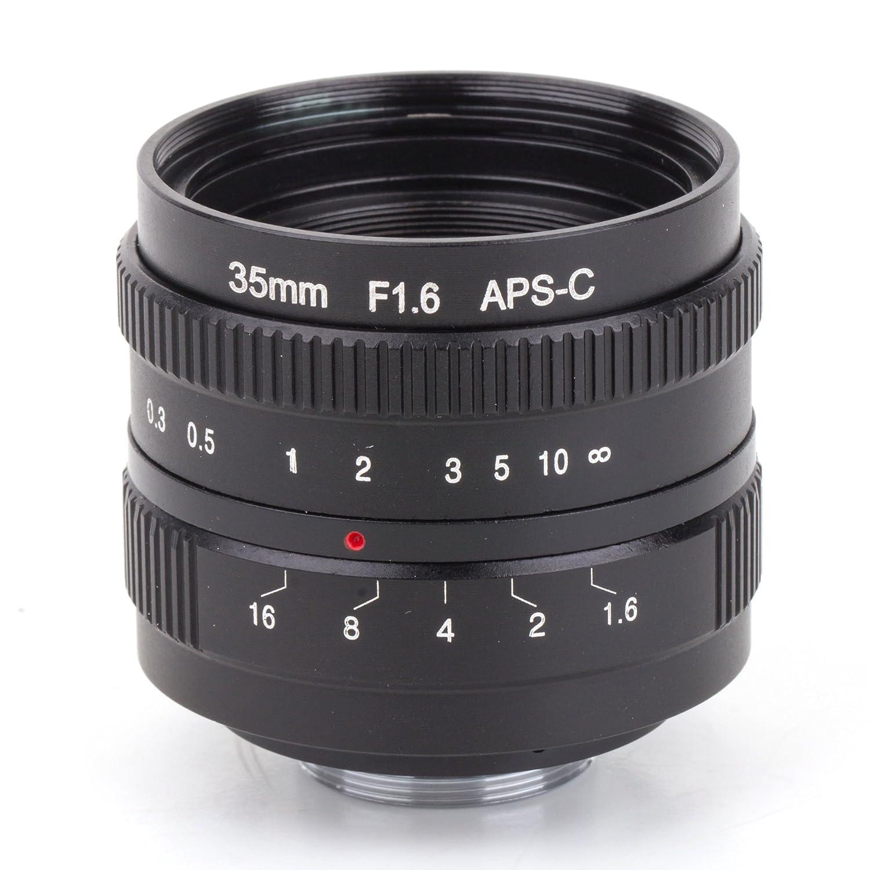 Pixco 35mm F1.6 APS-C CCTV Lens for 16mm C Mount Camera + C Mount Movie Lens to Sony E-Mount NEX Camera Lens Adapter 090143+010228