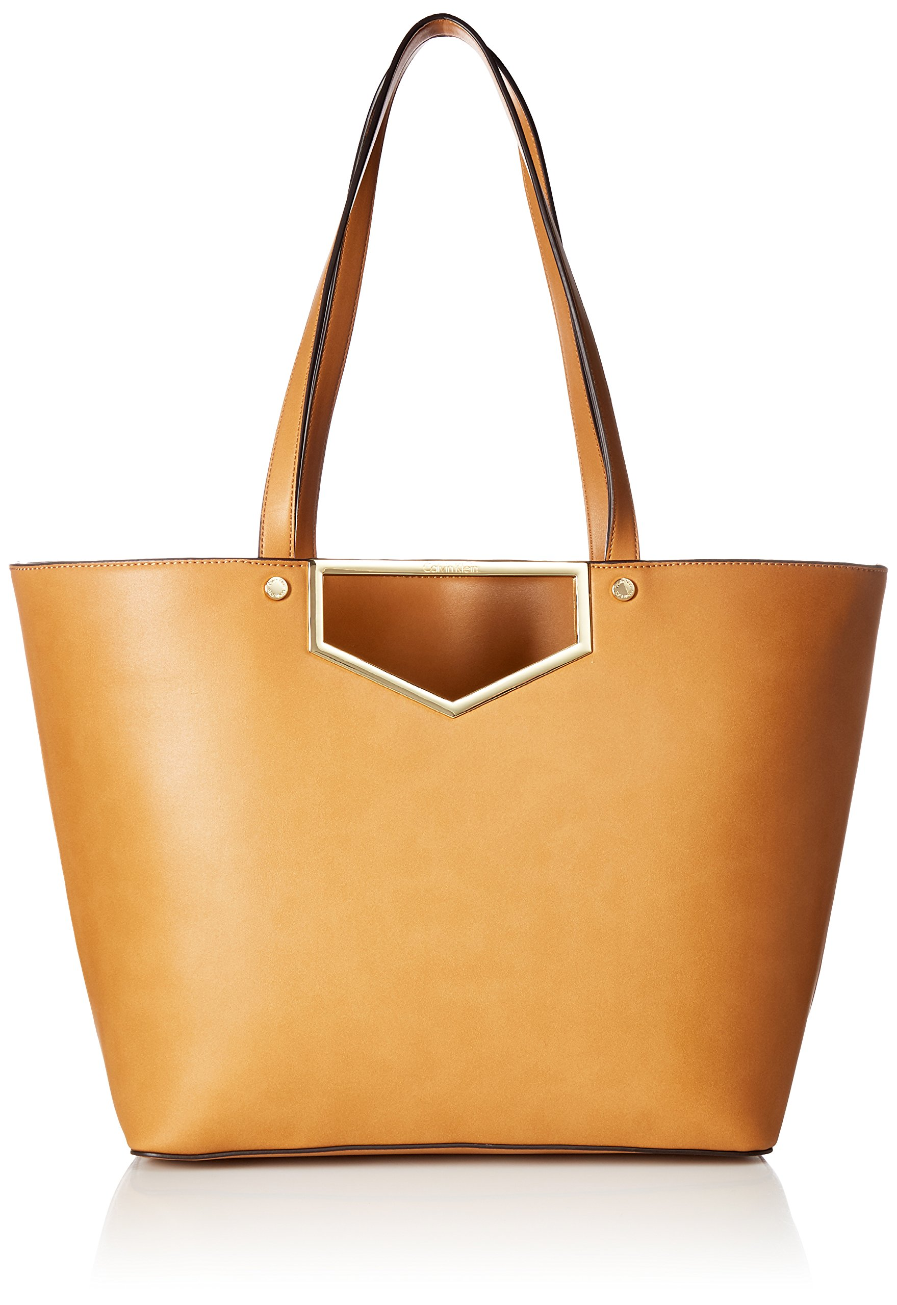 Calvin Klein Novelty Cut Out Hardware Tote, Cashew