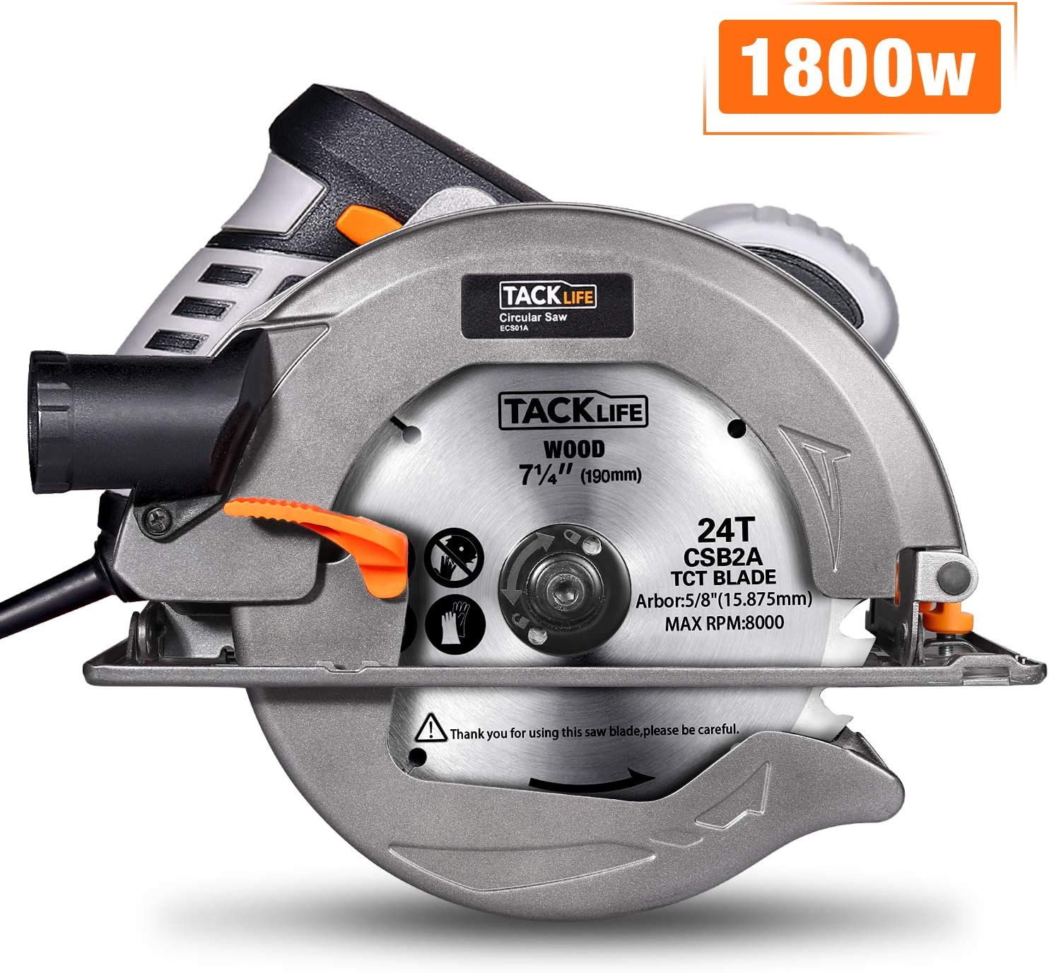 Circular Saw, TACKLIFE Upgraded 1800W 4700RPM Compact Circular Saw with 24T 7-1 2-inch 190mm Carbide Tipped Blade, Aluminum Protective Guard