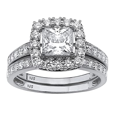 platinum over sterling silver princess cut created white sapphire 2 piece halo bridal ring set - Halo Wedding Ring Sets