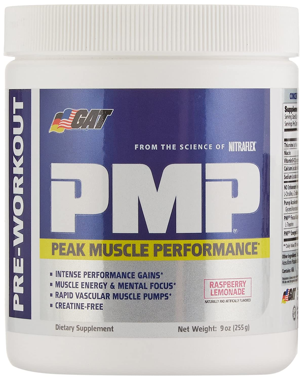 GAT PMP Peak Muscle Performance , Next Generation Pre Workout Powder for Intense Performance Gains, Raspberry Lemonade, 30 Servings, 9 Ounce