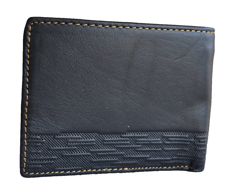men black genuine leather bifold hipster id wallet