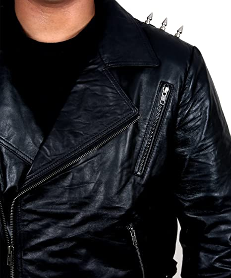 Amazon.com: Ghost Rider Motorbike Leather Jacket w Metal Spikes: Clothing