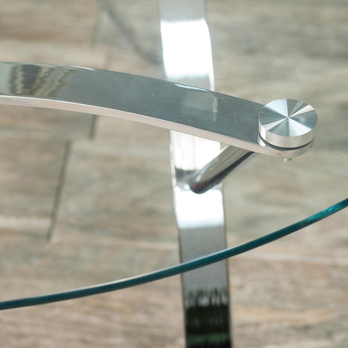 Davina Tempered Glass Round Coffee Table w/ Chrome Legs