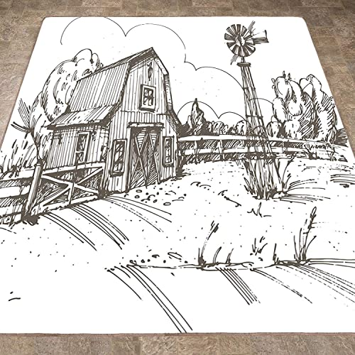 Rug,Floor Mat Rug,Windmill Decor,Area Rug,Rustic Barn Farmhouse Hand Drawn Illustration Countryside Rural Meadow,Home mat,6 6 x8 Taupe White,Rubber Non Slip,Indoor Front Door Kitchen and Living Room B