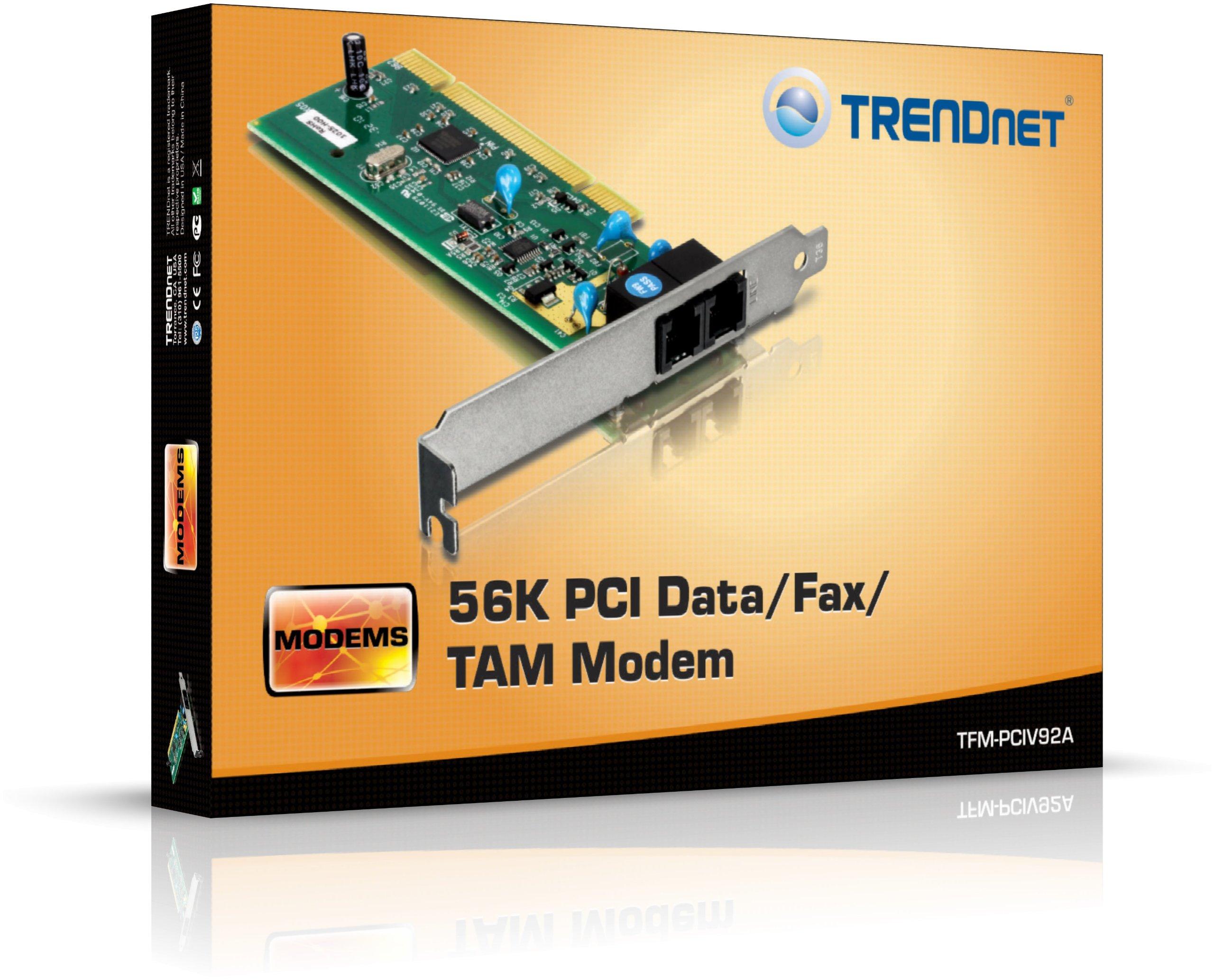 TRENDnet 56K Internal PCI Data,Fax and TAM Modem, TFM-PCIV92A by TRENDnet