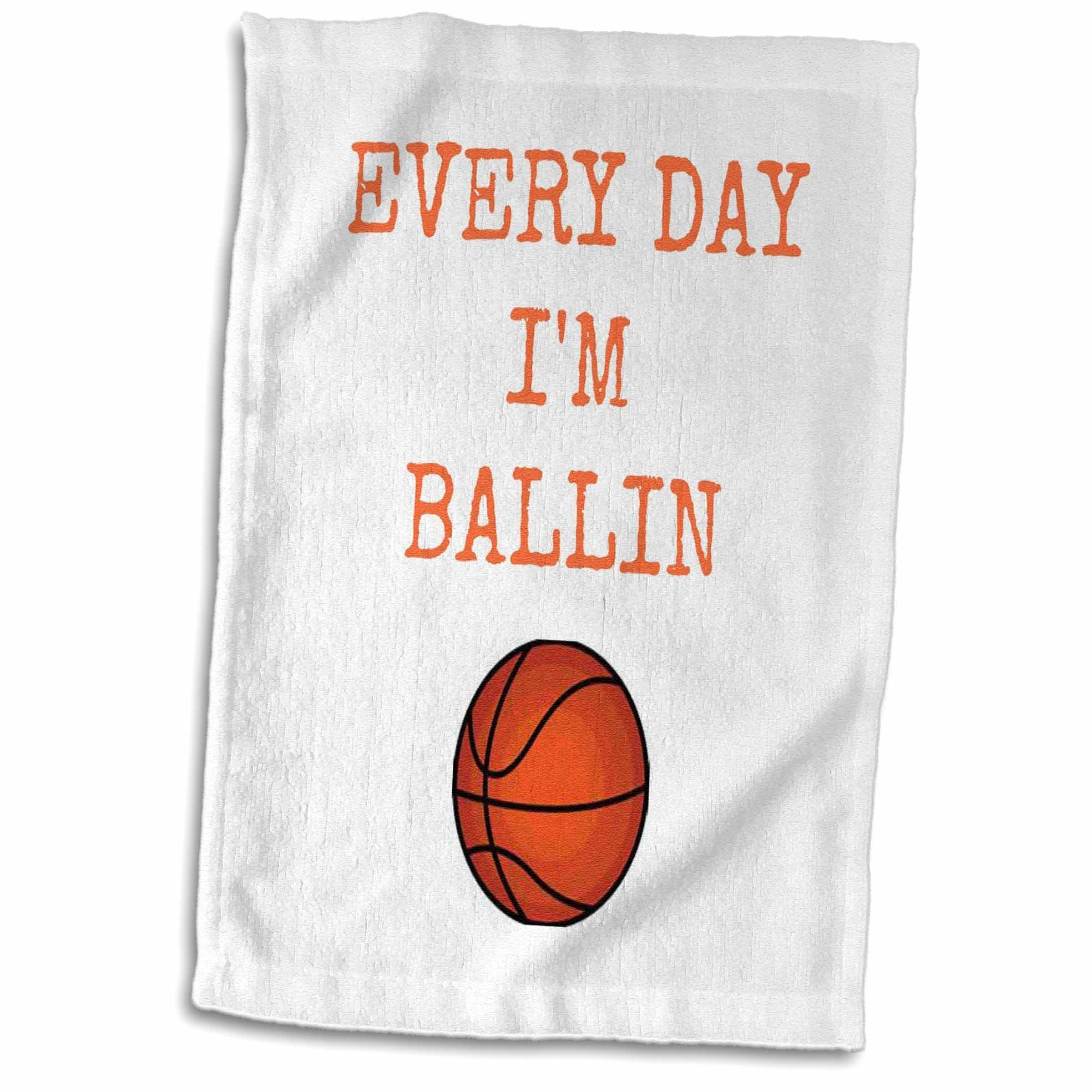3D Rose Every Day Im Ballin Basketball Picture Orange Lettering twl_172351_1 Towel, 15'' x 22'', Multicolor