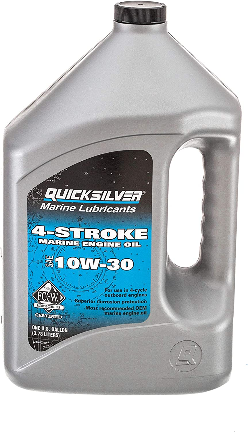 Quicksilver 8M0078617 4-Stroke Marine Engine Oil – for Outboard, Sterndrive & Inboard Engines – SAE 10W-30 Mineral – 1 Gallon
