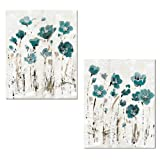 Amazon Price History for:Beautiful Teal and Brown Watercolor-Style Floral Print Set by Lisa Audit; Two 11x14in Poster Prints