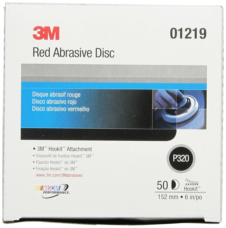 3M Hookit Red Abrasive Disc, 01219, 6 in, P320, 50 discs per carton