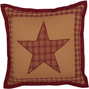 VHC Brands Ninepatch Star Cotton Primitive Bedding Hand Quilted Appliqued Square Pillow, Burgundy Red