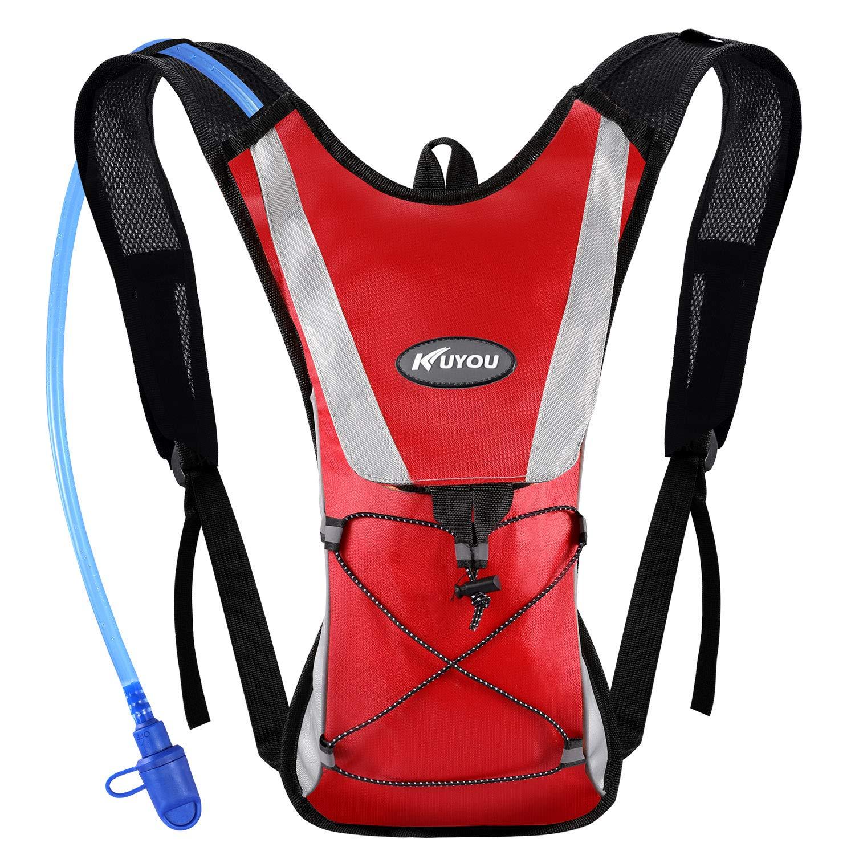 KUYOU Hydration Pack Water Rucksack Backpack Bladder Bag Cycling Bicycle Bike/Hiking Climbing Pouch + 2L Hydration Bladder,(Red+Water Pouch) by KUYOU