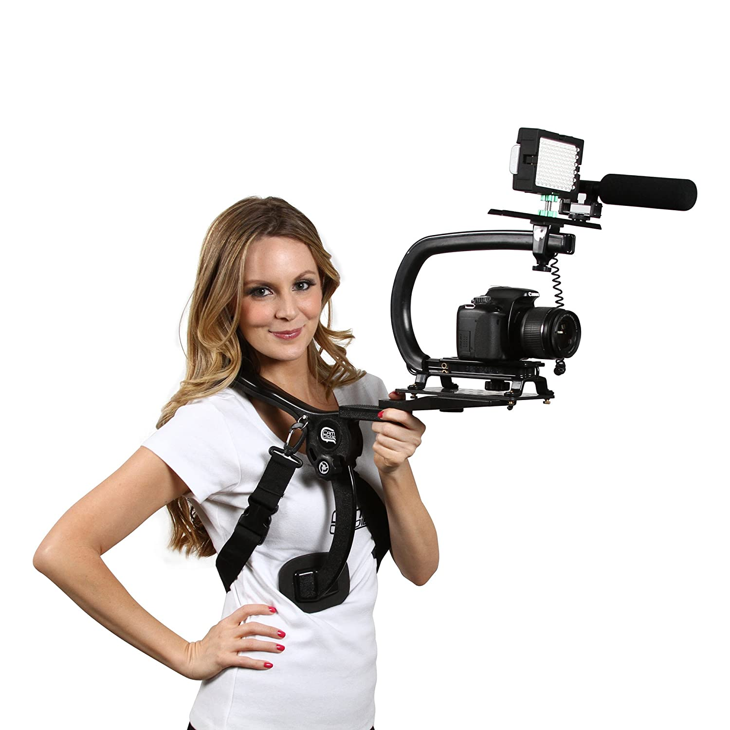 Video Camera Stabilizing Handle with Included Smartphone and GoPro Compatible Mounts Cam Caddie Scorpion Jr Orange 0CC-0100-JR-ORA