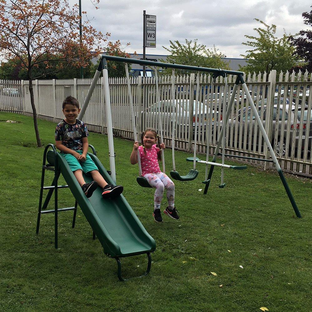 Beau 4 Piece Outdoor Kids Play Set, Swing, Slide, Seesaw Multi Function Play Area