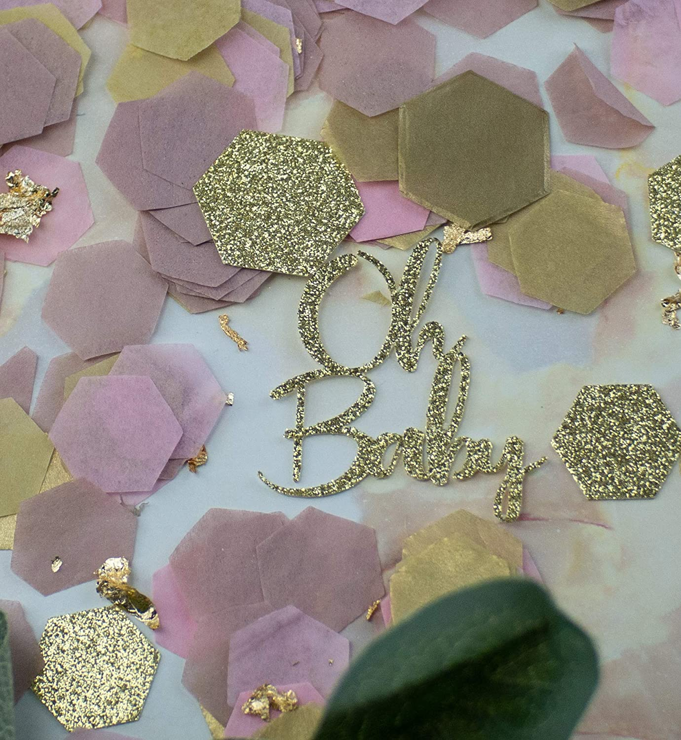 Pink and Gold Baby Shower Decorations Baby Girl Shower Decorations Oh Baby Baby Shower Table Decorations Baby Shower Decor Baby Shower Confetti