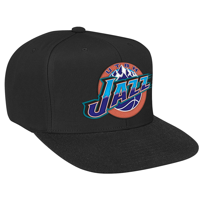 f586c211e Mitchell & Ness Utah Jazz Basic Logo Snapback Hat in Black