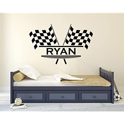 "Personalized Name Flags Racing Wall Decal - Baby Room Decor - Nursery Wall Decals - Racing Wall Decor Mural Sticker (36"" x 22""): Industrial & Scientific"