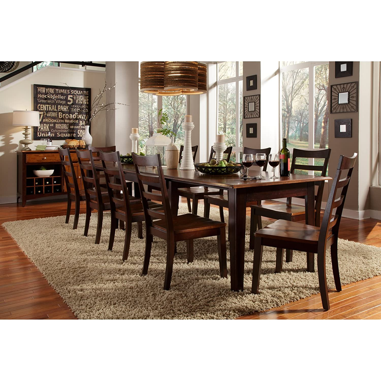 Amazon A America Bristol Point 132 Rectangular Dining Table With 3 24 Leaves Oak Espresso Kitchen