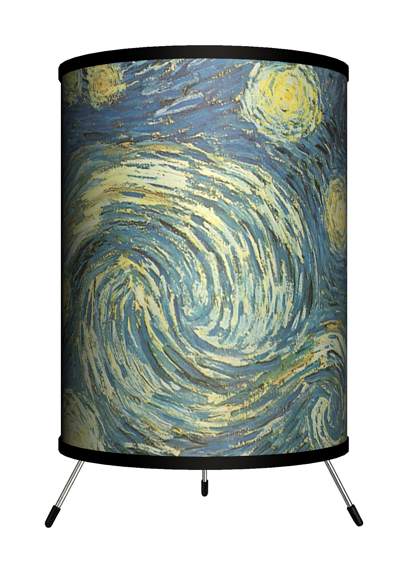 Lamp-In-A-Box TRI-ART-VGSTA Art - Vincent van Gogh''Starry Night'' Tripod Lamp, 8'' x 8'' x 14''