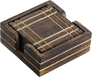 #1 Drink Coaster - BIG SALE on Best SouvNear Complete 4 Mango Wood Drink Coasters and Holder Set - Handmade Brown Wooden Hand-Carved Square Beverage Coaster