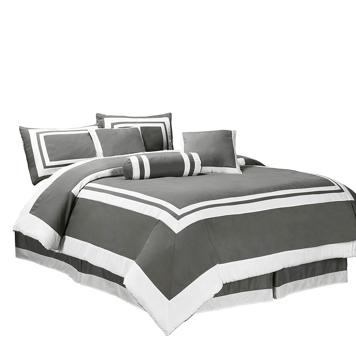 Chezmoi Collection 7 Pieces Caprice Gray/White Square Pattern Hotel Bedding Comforter Set (Full, Gray/White) Caprice-Com-Gray-Full