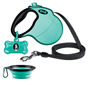 Ruff 'n Ruffus Retractable Dog Leash with Free Waste Bag Dispenser and Bags + Bonus Bowl | Heavy-Duty 16ft Retracting Pet Leash | 1-Button Control | Durable (Aqua (with Free Bonus))