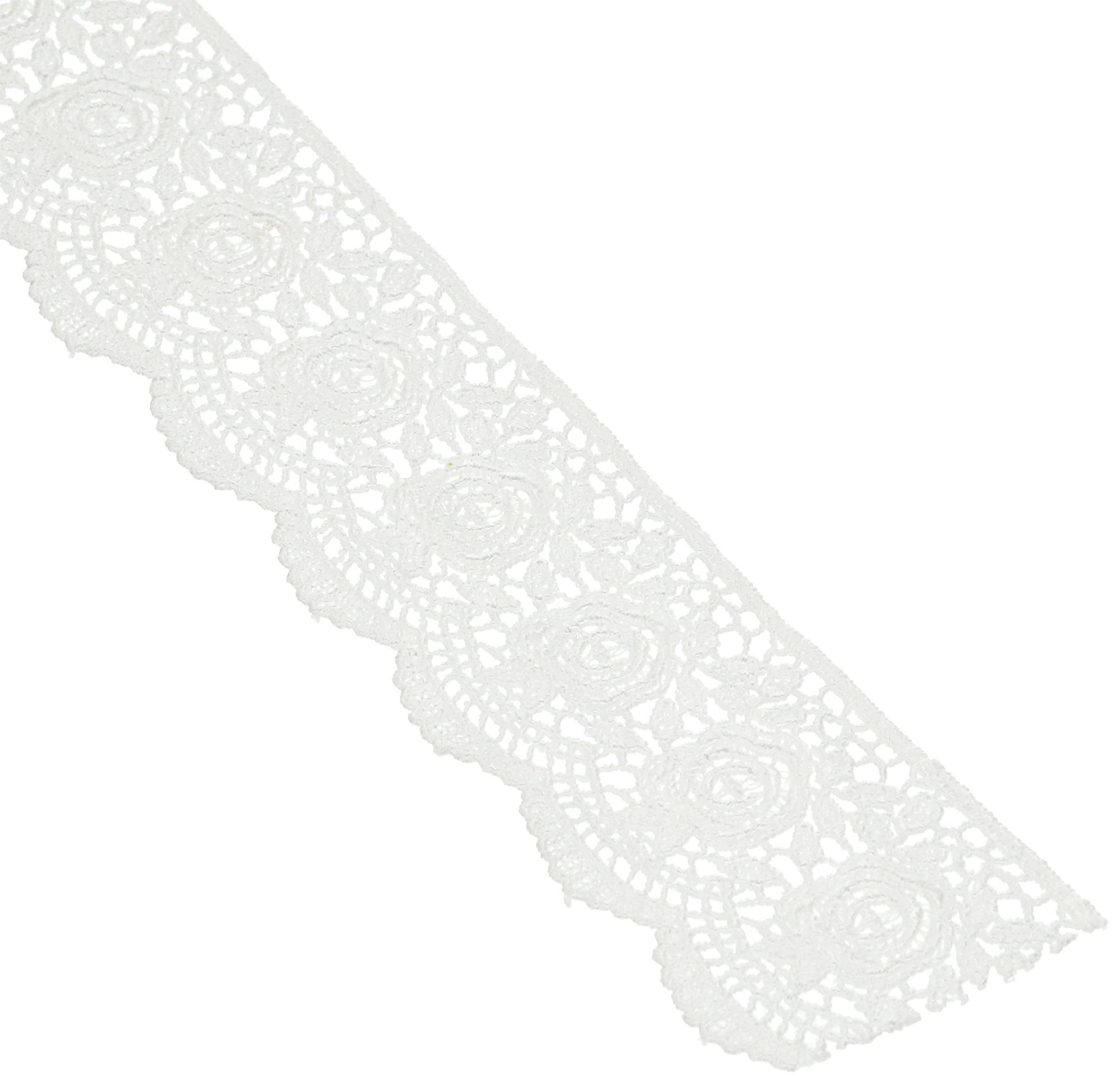 Wright Products Scalloped Rose Venice Lace 1-3/4'' Wide 10 Yards-White by Wright Products