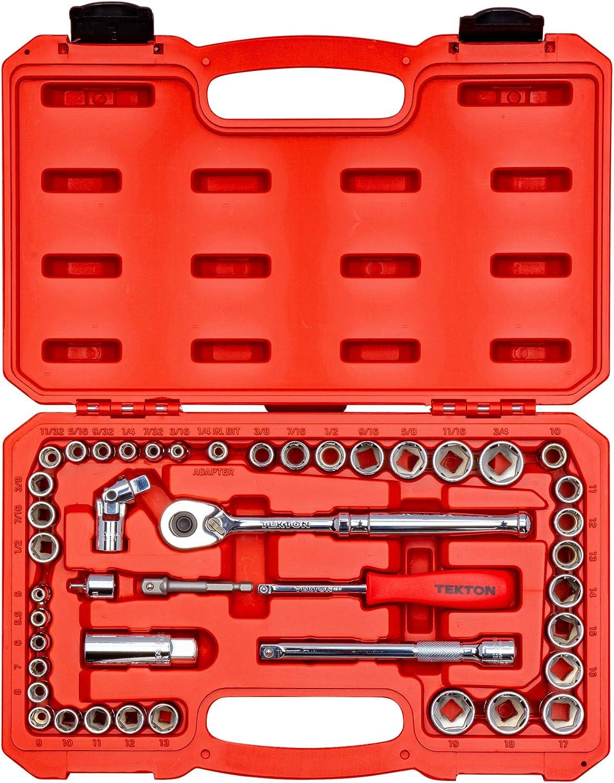 Tekton 1//4 Inch Drive 12-Point Socket Set 55-Piece 5//32-9//16 in., 4-14 mm