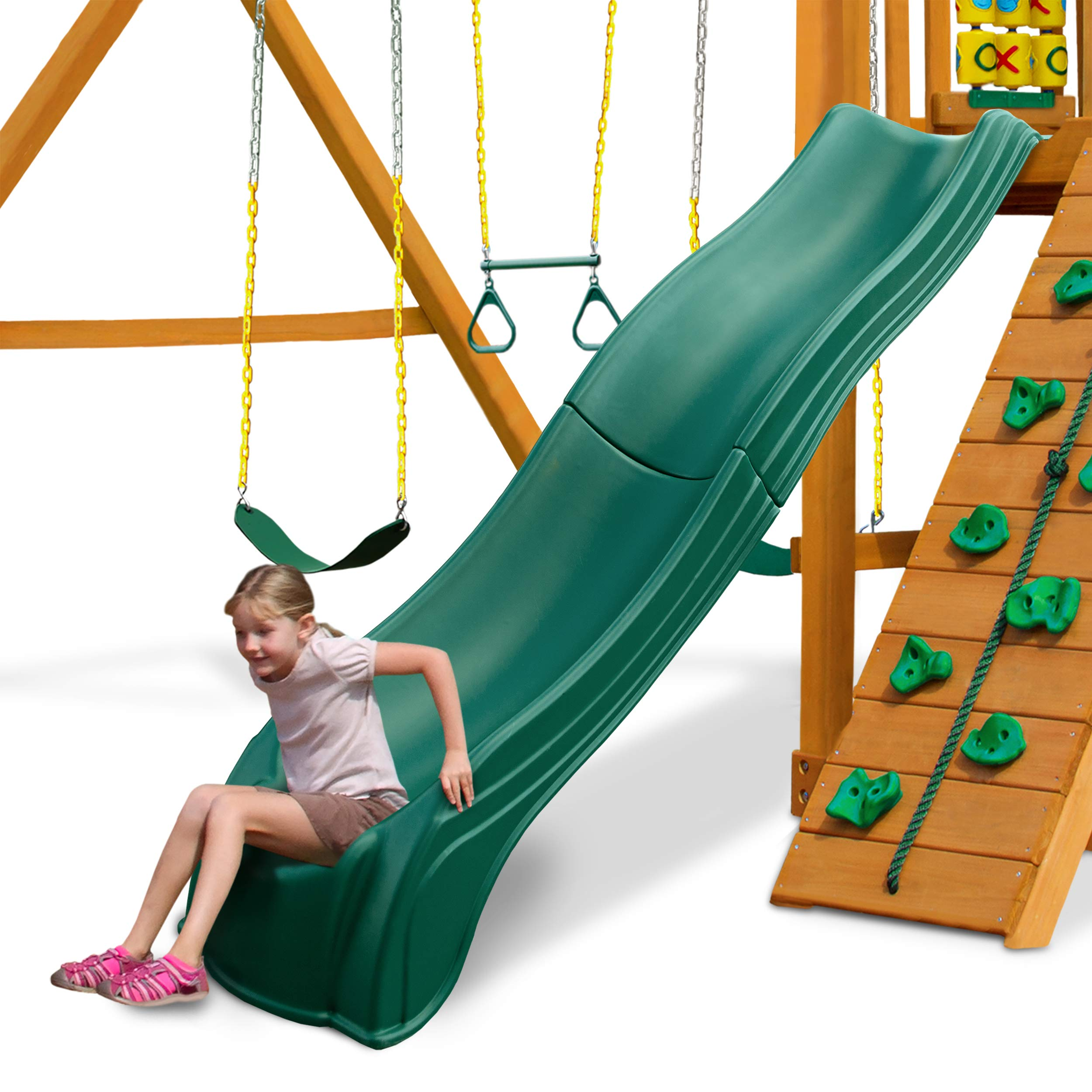 Swing-N-Slide WS 5033 Olympus Wave Slide Plastic Slide for 5' Decks, Green by Swing-N-Slide