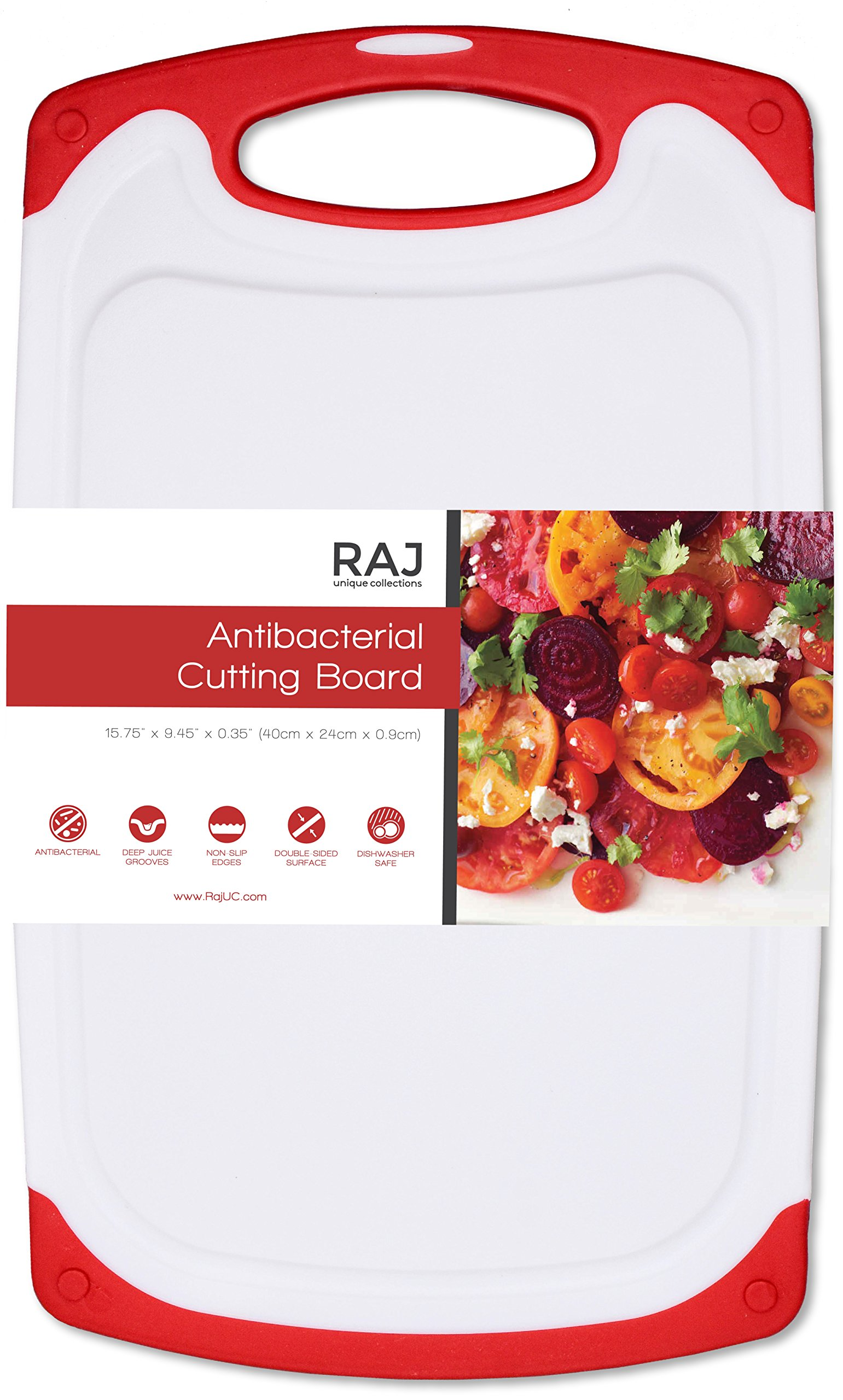 Raj Non-Slip Antibacterial Plastic Cutting Board, Deep Juice Groove, Dishwasher Safe, BPA Free, FDA Approved White and green (1 Piece Large, White board with Red Ends)