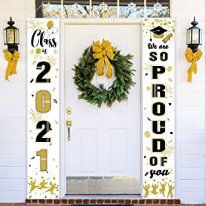 Class of 2021 Graduation Porch Sign We are So Proud of You Congrats Porch Banner 71 x 13 Inch Front Door Graduation Garland Vertical Hanging Grad Banner Set for Party Yard Indoor Outdoor Wall Decor