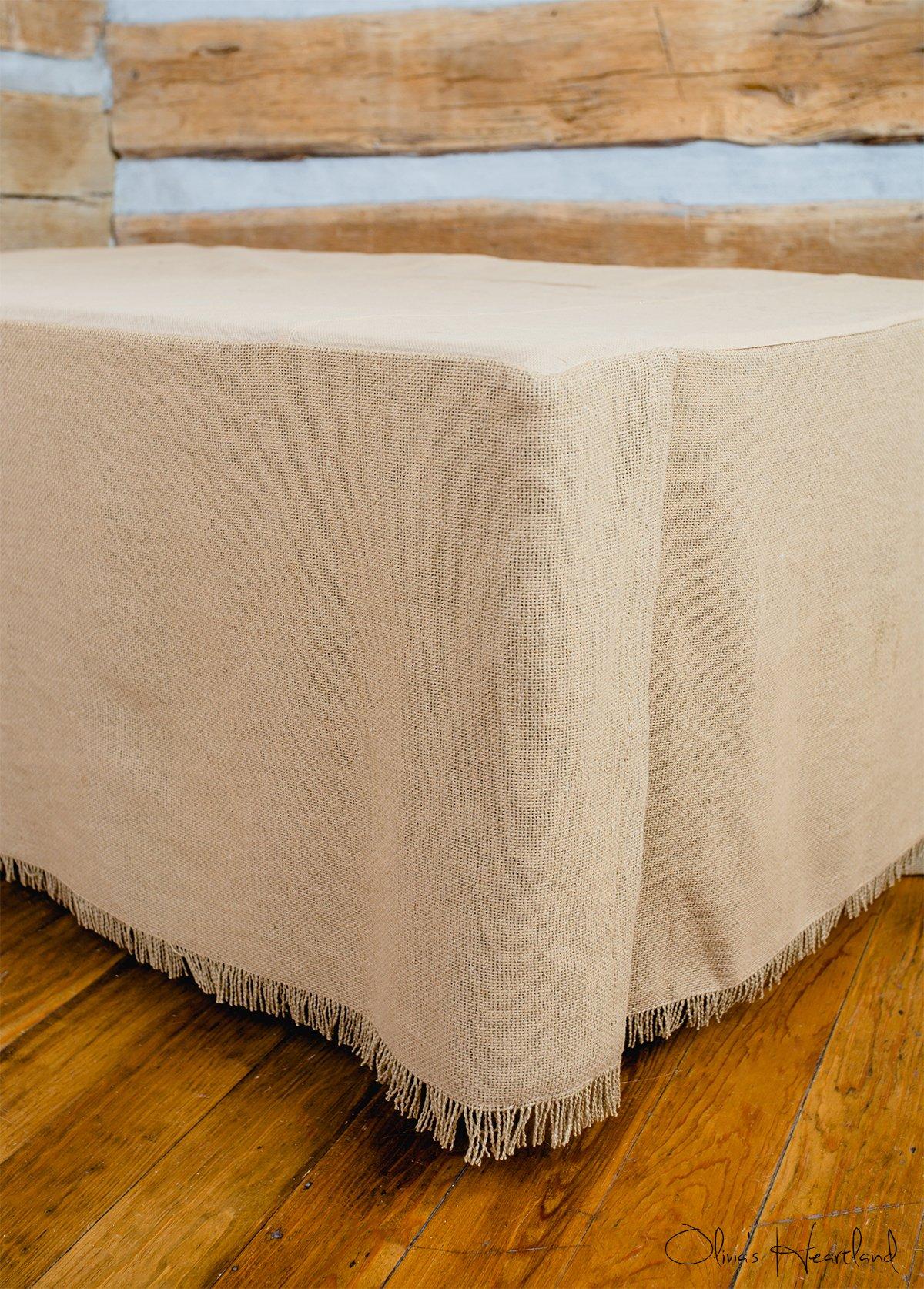 Deluxe Burlap Natural Tan King Bed Skirt