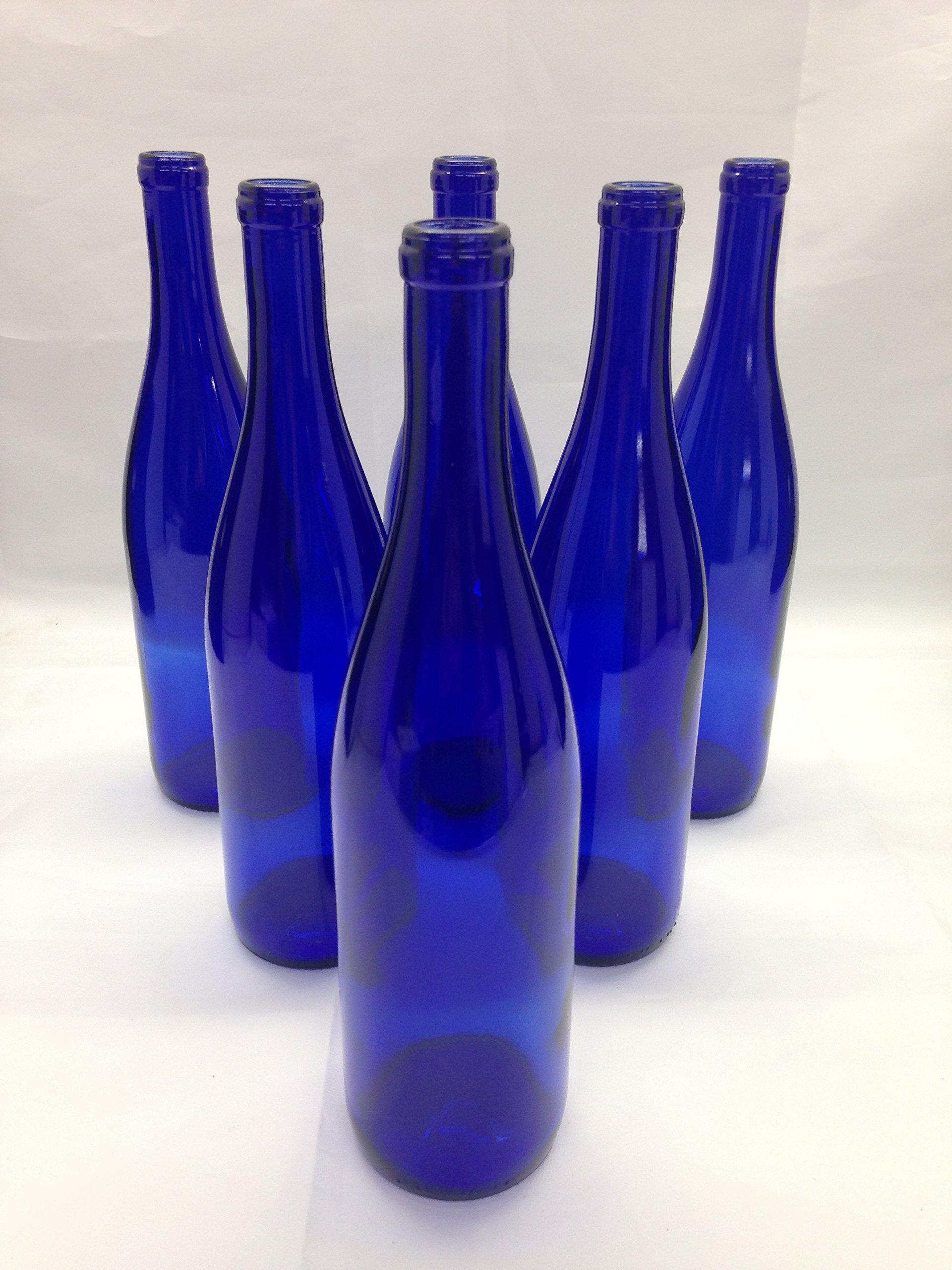 6 - Deep Cobalt Blue Stretch Neck Hock Flat Bottom 750ml for Bottle Trees, Crafting, Parties,Wedding Center Piece , Decor , Home Brew , Beer, Wine