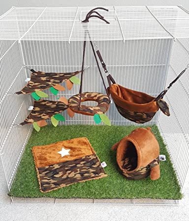 6 pieces/Set Cage Nest Set for Sugar Glider, Hamster, Squirrel, Marmoset, Chinchillas, Small Exotic Pet Military Camouflage Pattern Light Brown Color