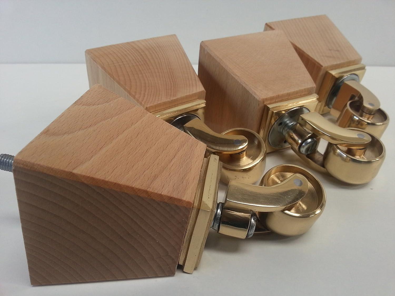 4 x Natürliche Holz Möbel Beine/Füße mit Messing Rollen, Sofa Stühle ...